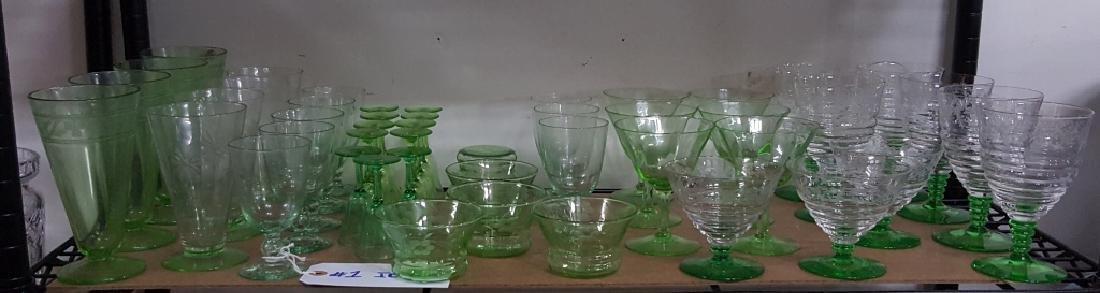 Uranium Green Etched Fostoria Stemware & MORE!!!