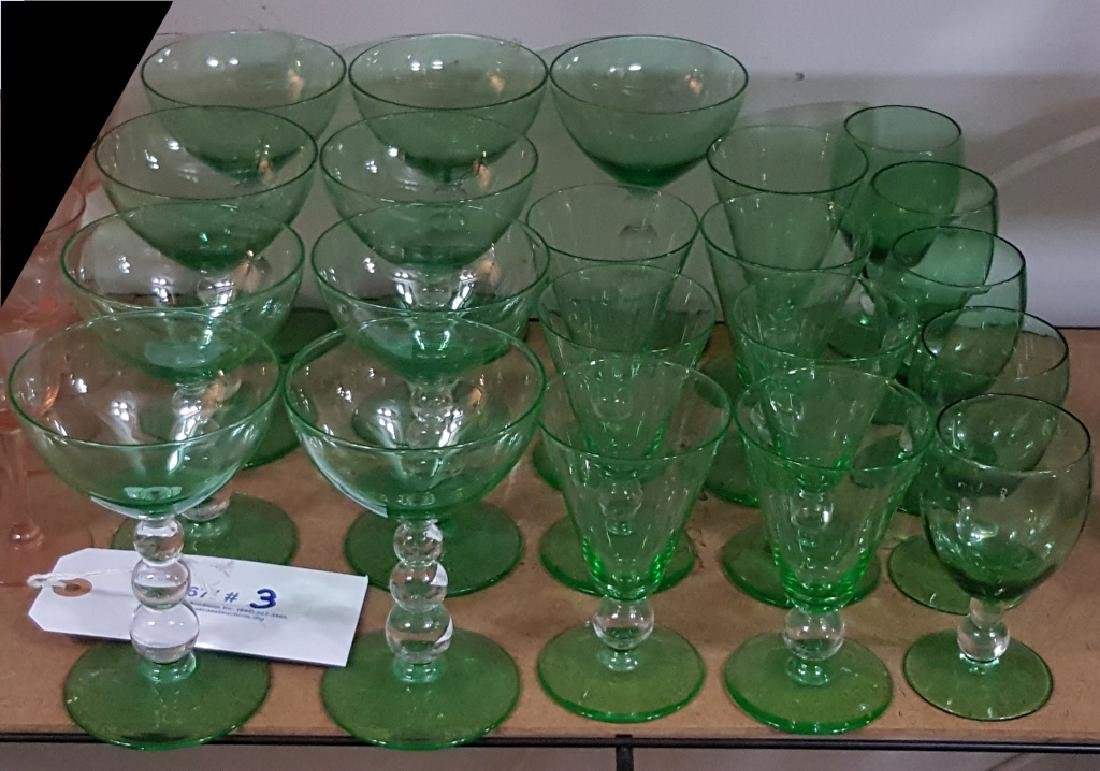 Vintage Green & Clear Bubble Stem Glass Collection