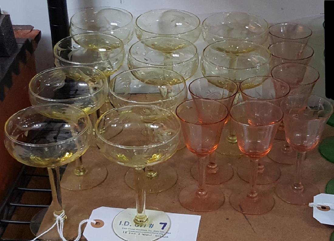 Yellow Topaz & Pink Etched Depression Glasses