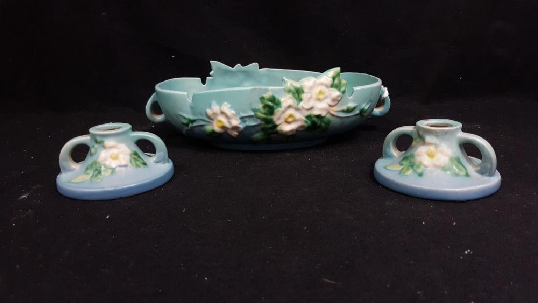Roseville Pottery White Rose Console Bowl & a Pair