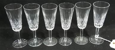 6 Waterford Lismore Cut Crystal Champagne Flutes