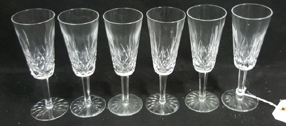 (6) Waterford Lismore Cut Crystal Champagne Flutes