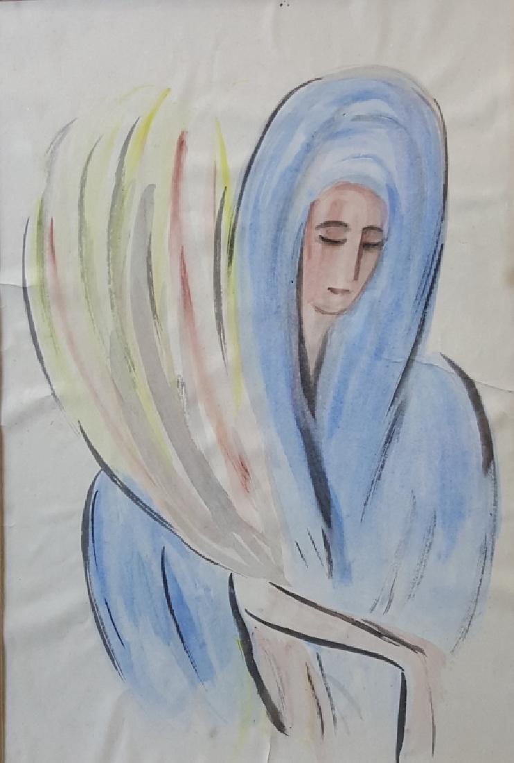E. Yasenev Judaica Watercolor, Woman