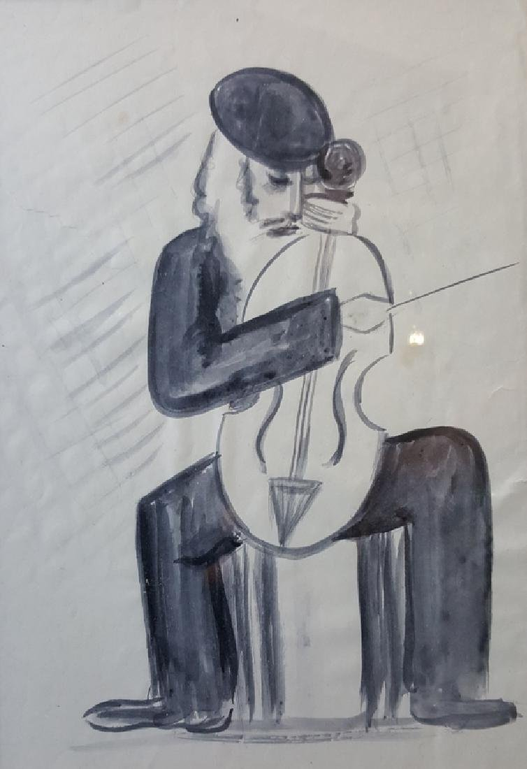 E. Yasenev Judaica Watercolor, Rabbi Playing Cello