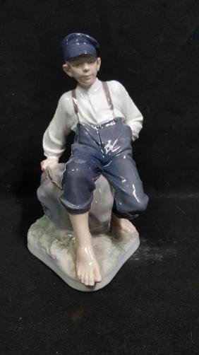 Royal Copenhagen Figure Shepherd Boy On Rock
