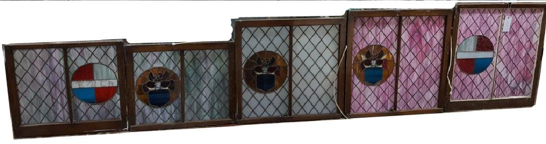 Set of (5) Antique Stained Glass Oak Frame Windows