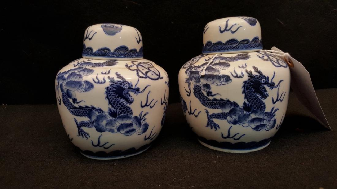 A Pair of Chinese Blue and white Covered Jars