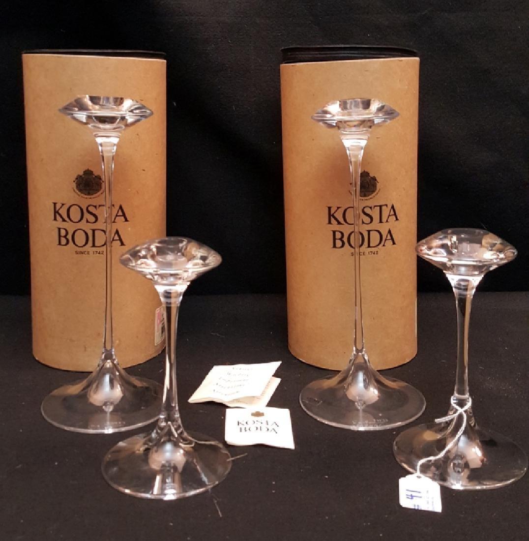 Signed Kjell Engman Kosta Boda Candle Sticks
