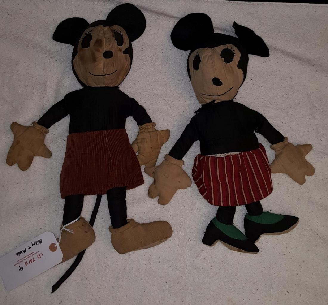 Early Mickey and Minnie Mouse Cloth Dolls