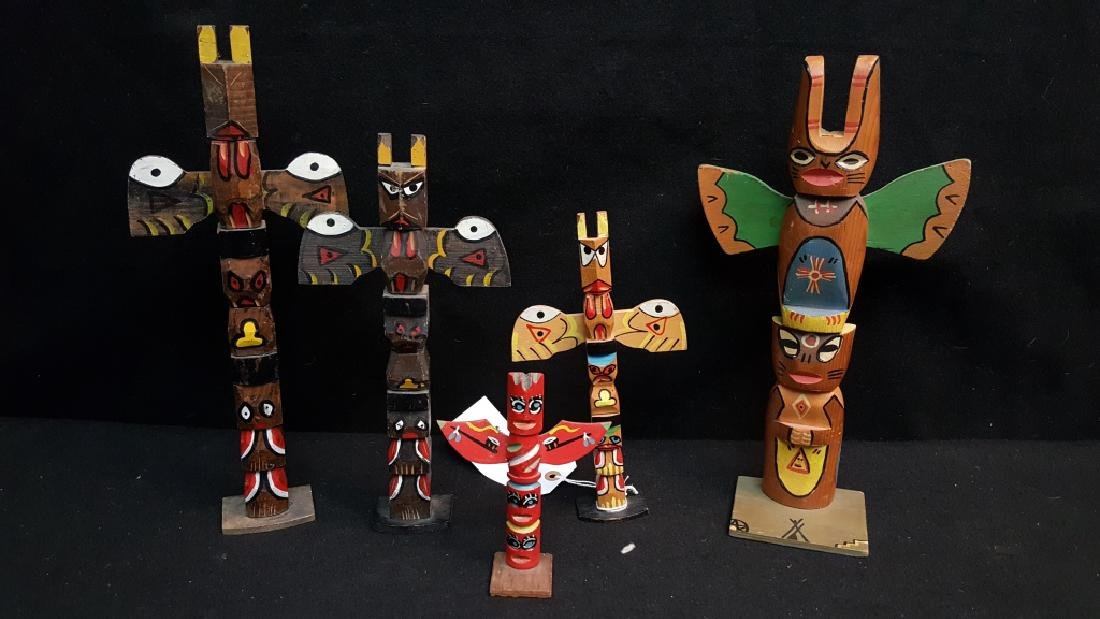 Hand Made American Indian Totem Poles