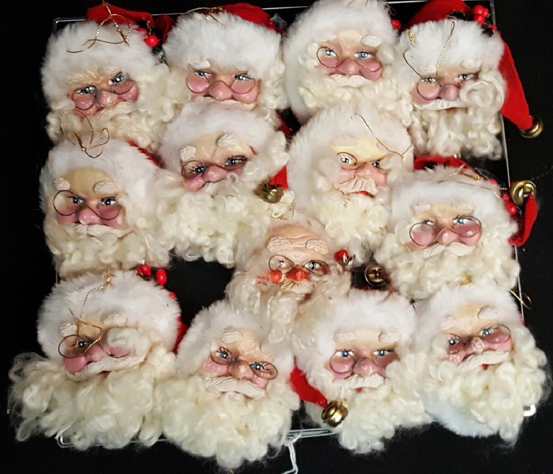 (13) Santa Claus Head Jingle Christmas Ornaments
