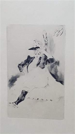 Louis LeGrand Erotic Engraving Le Salut Militaire