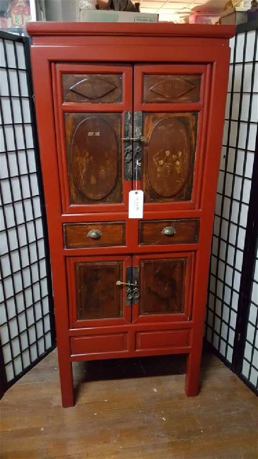 - Hand Painted & Carved Red Chinese Wedding Cabinet
