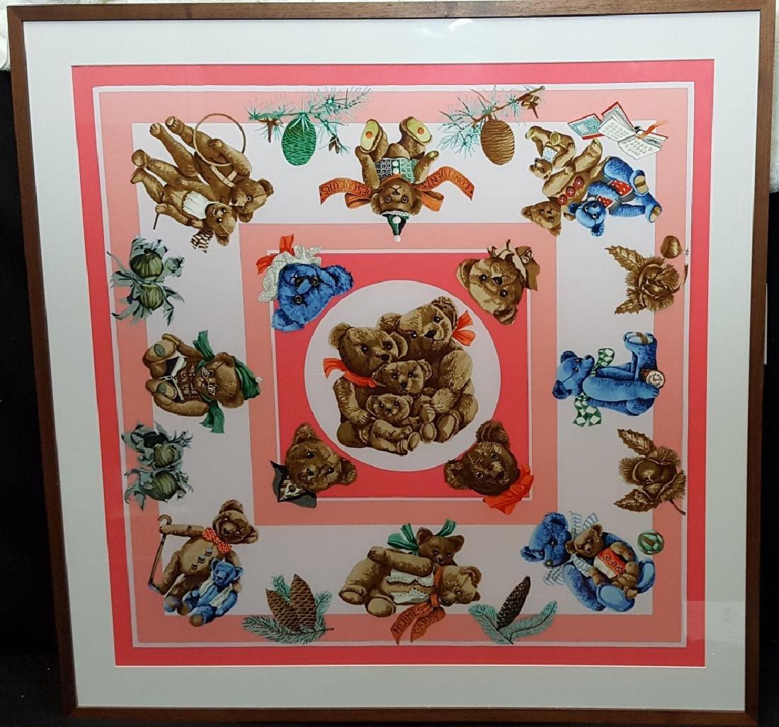 A Framed Hermes Scarf Confidents Des Coeurs Pink