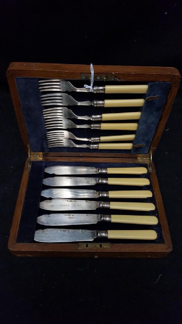 Wards' EP Silver Bakelite Handle Fork & Knife Set