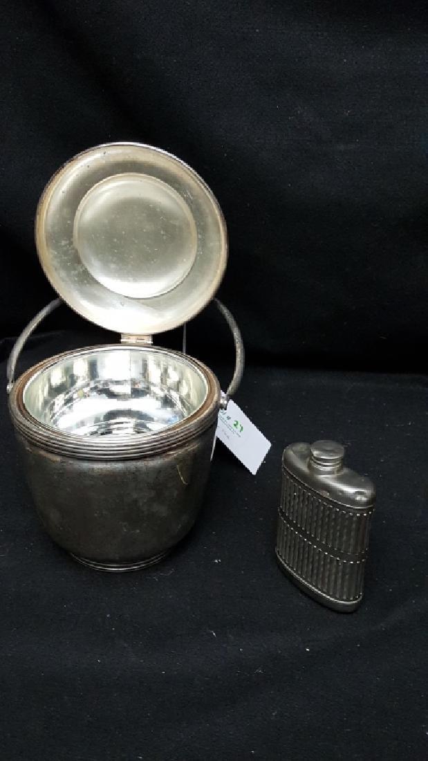 Silver on Copper Ice Bucket & Flask