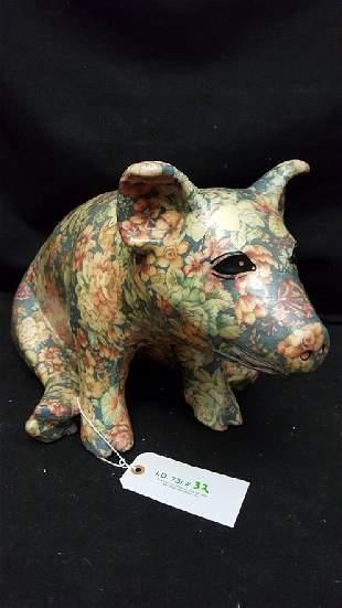 XL Floral Covered Ceramic Piggy Bank
