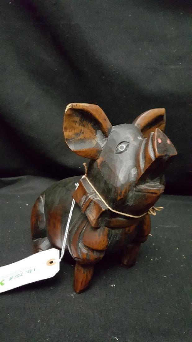Folk Art Hand Carved Pig