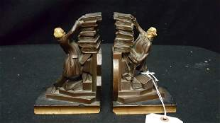 Bronze Bookends Man Stacking Books