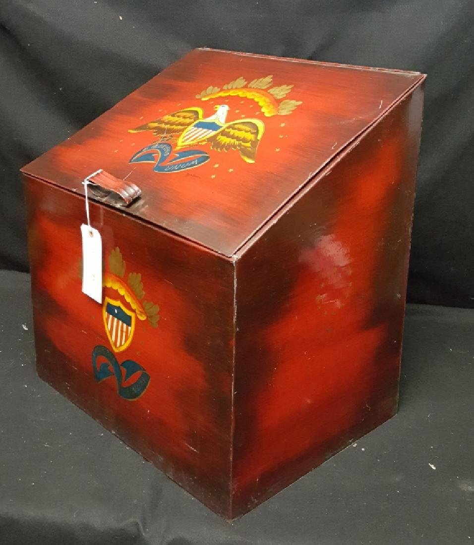 Americana Hand Painted Patriotic Metal Fire Box