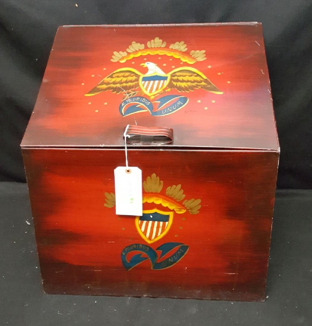 Americana Hand Painted Patriotic Metal Fire Box - 3
