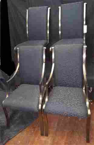 Set of Four Polished Metal Body and Black Chairs