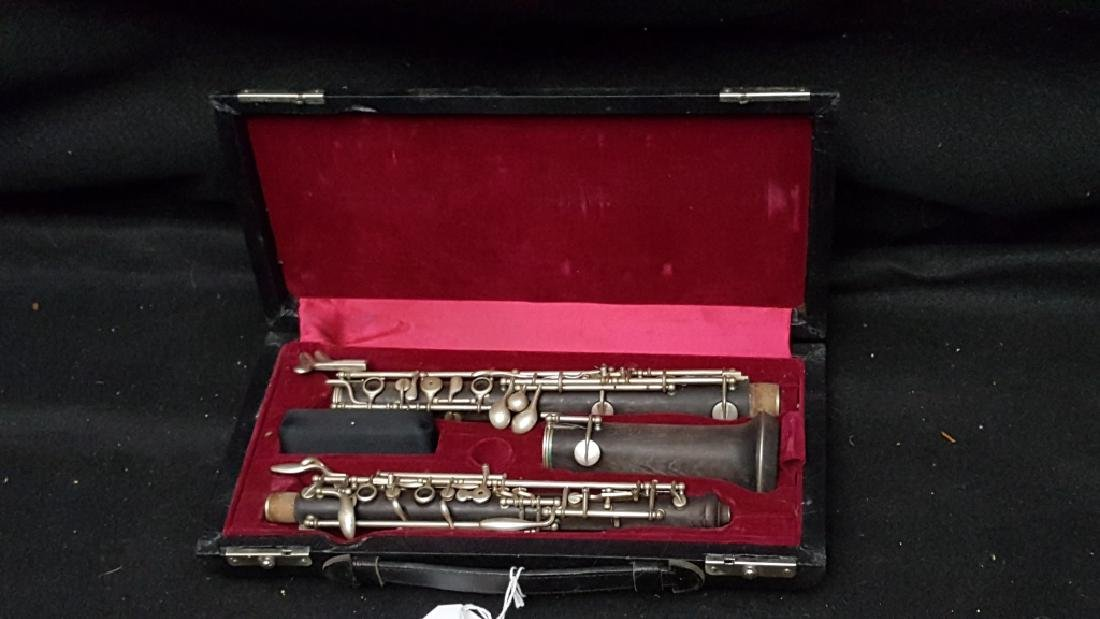 Antique F. Loree Paris Silver Plated Wooden Oboe