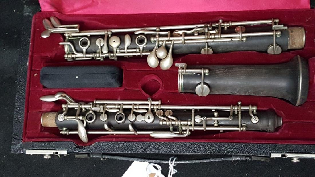 Antique F. Loree Paris Silver Plated Wooden Oboe - 2