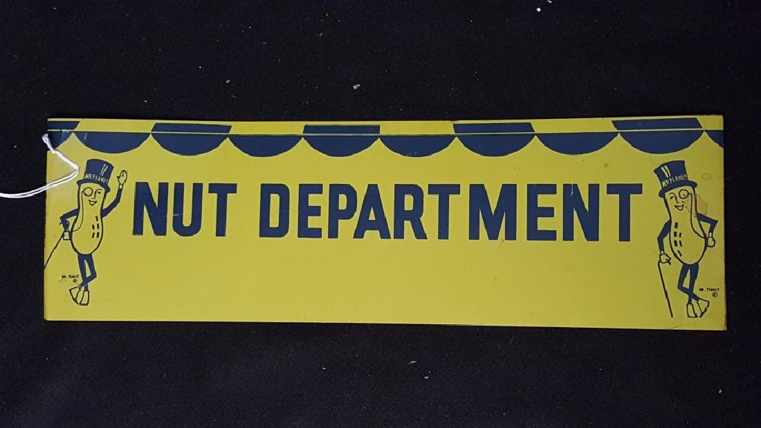 "Mr Peanut ""Nut Department"" Metal Planters Sign"