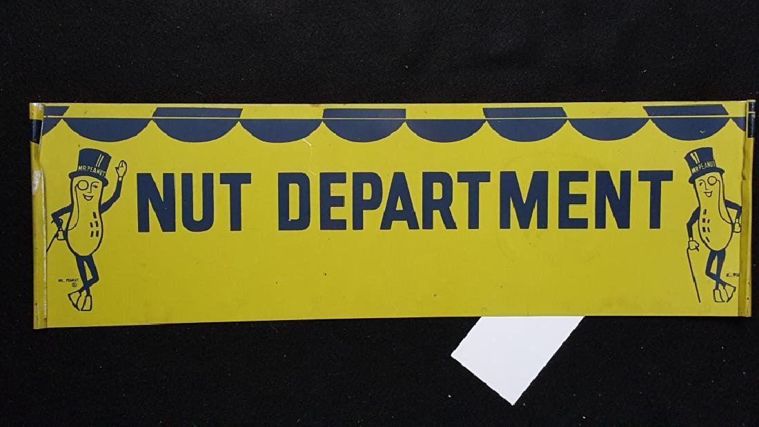"Mr Peanut ""Nut Department"" Metal Planters Sign - 2"