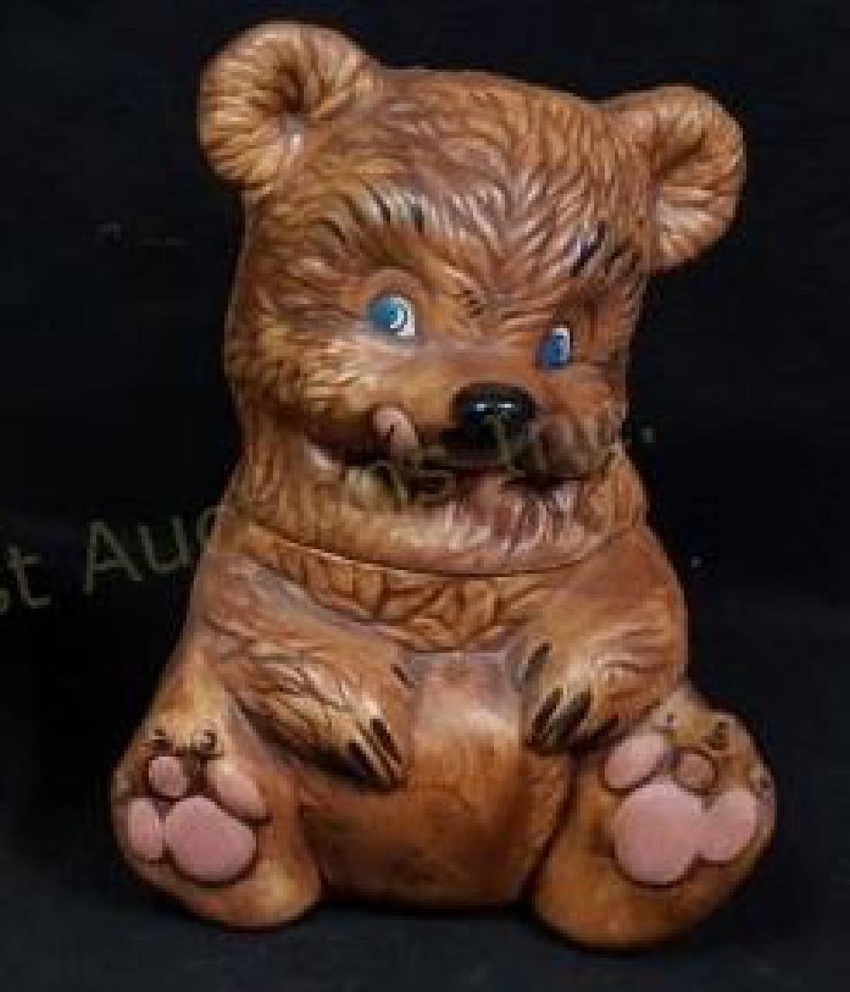Blue Eyed Teddy Bear Cookie Jar