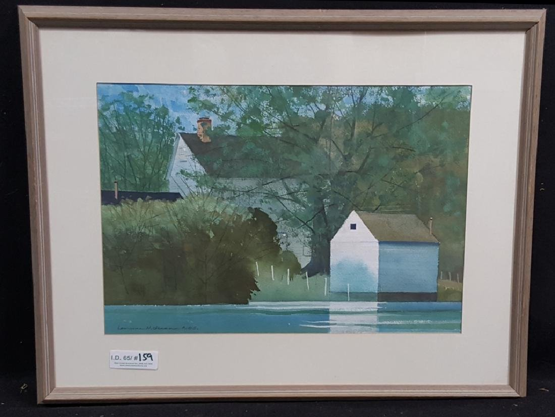 Artist Signed A.W.S. Painting of a Waterside Home