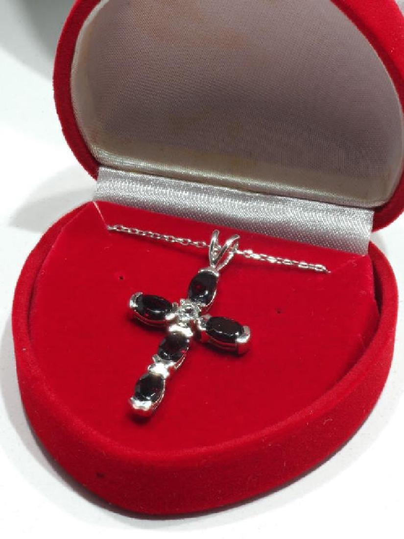 Sterling Silver Genuine Garnet Cross Necklace