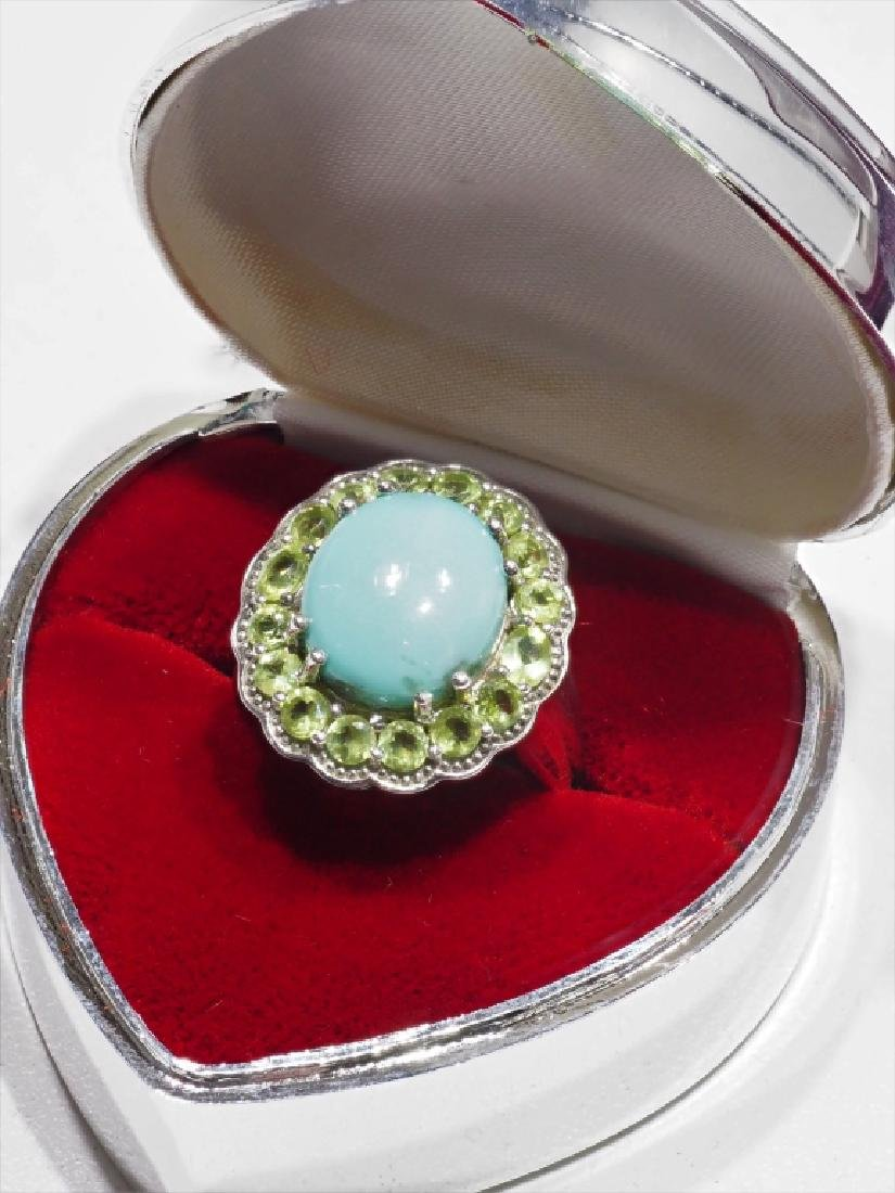 Sterling Silver, Turquoise & Peridot Ring - 2