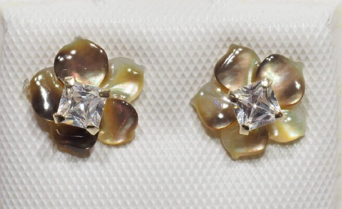 14kt Gold Cz Earrings w/ Mother of Pearl Jacket