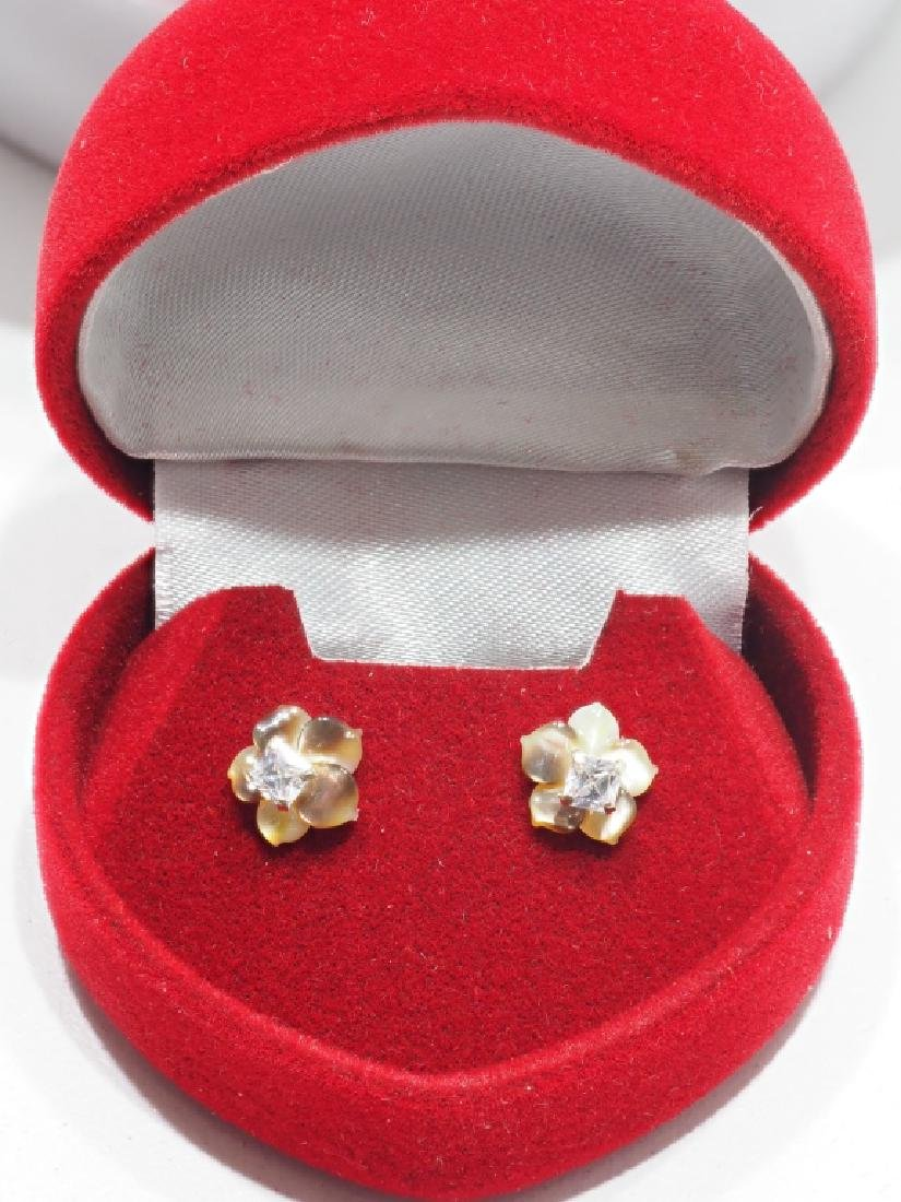 14kt Gold Cz Earrings w/ Mother of Pearl Jacket - 2