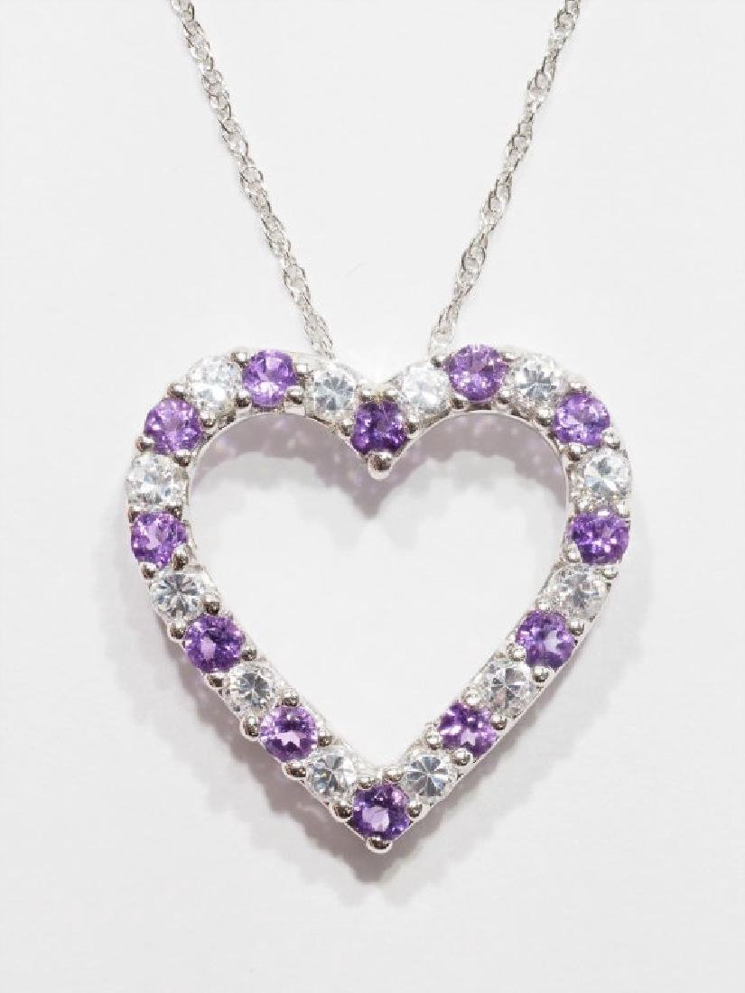 Sterling Silver  Heart Shaped Amethyst Necklace