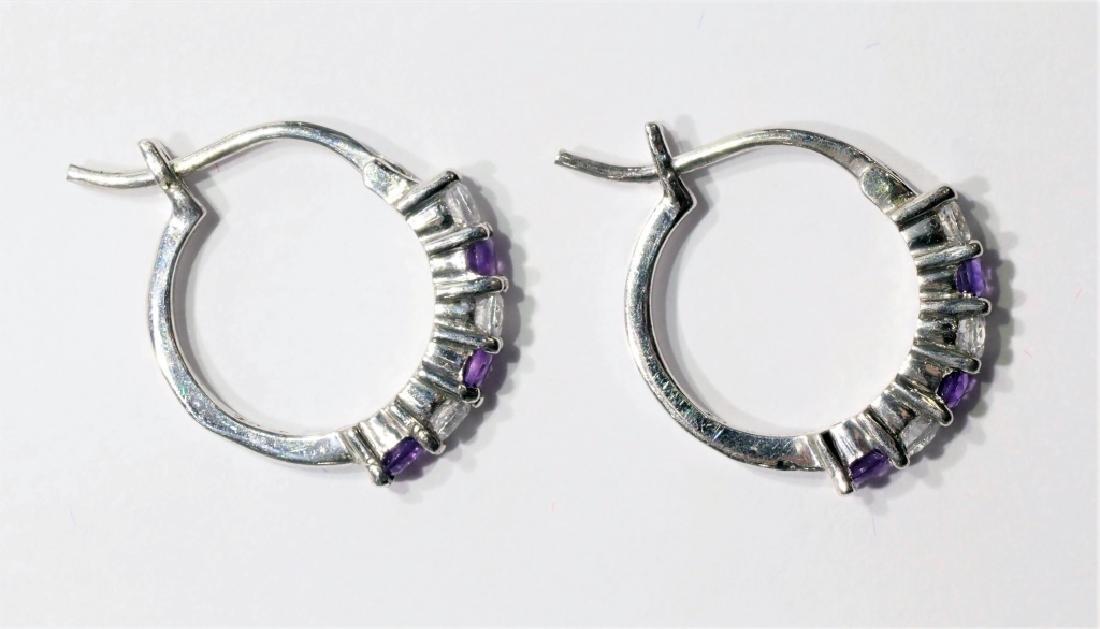 Sterling Silver Genuine Amethyst Earrings - 2