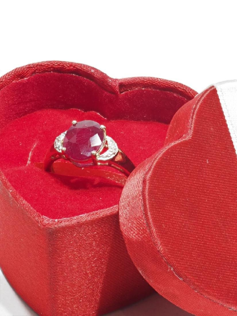 Sterling Silver Ruby & Diamond Ring - 2