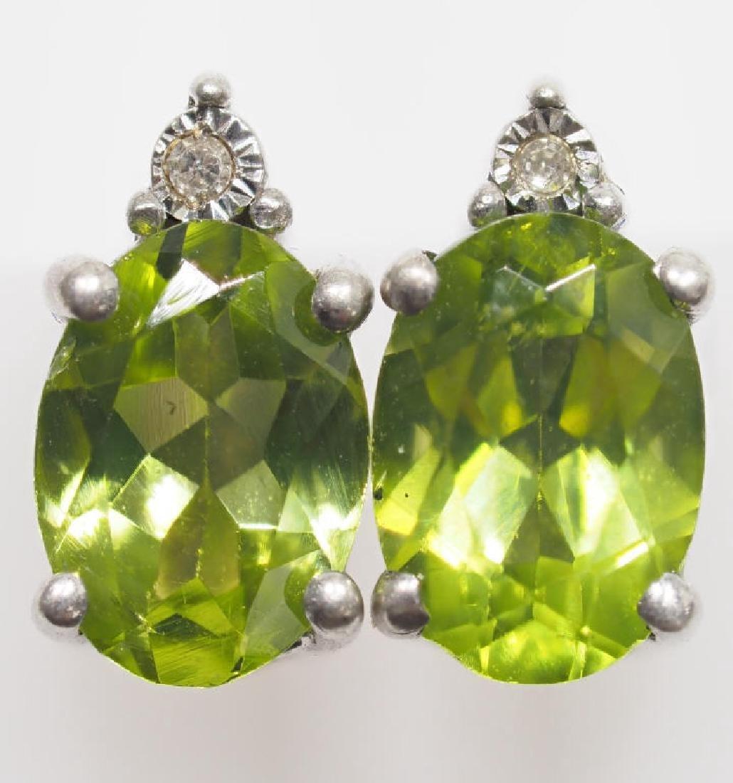 Sterling Silver Peridot Diamond Earrings