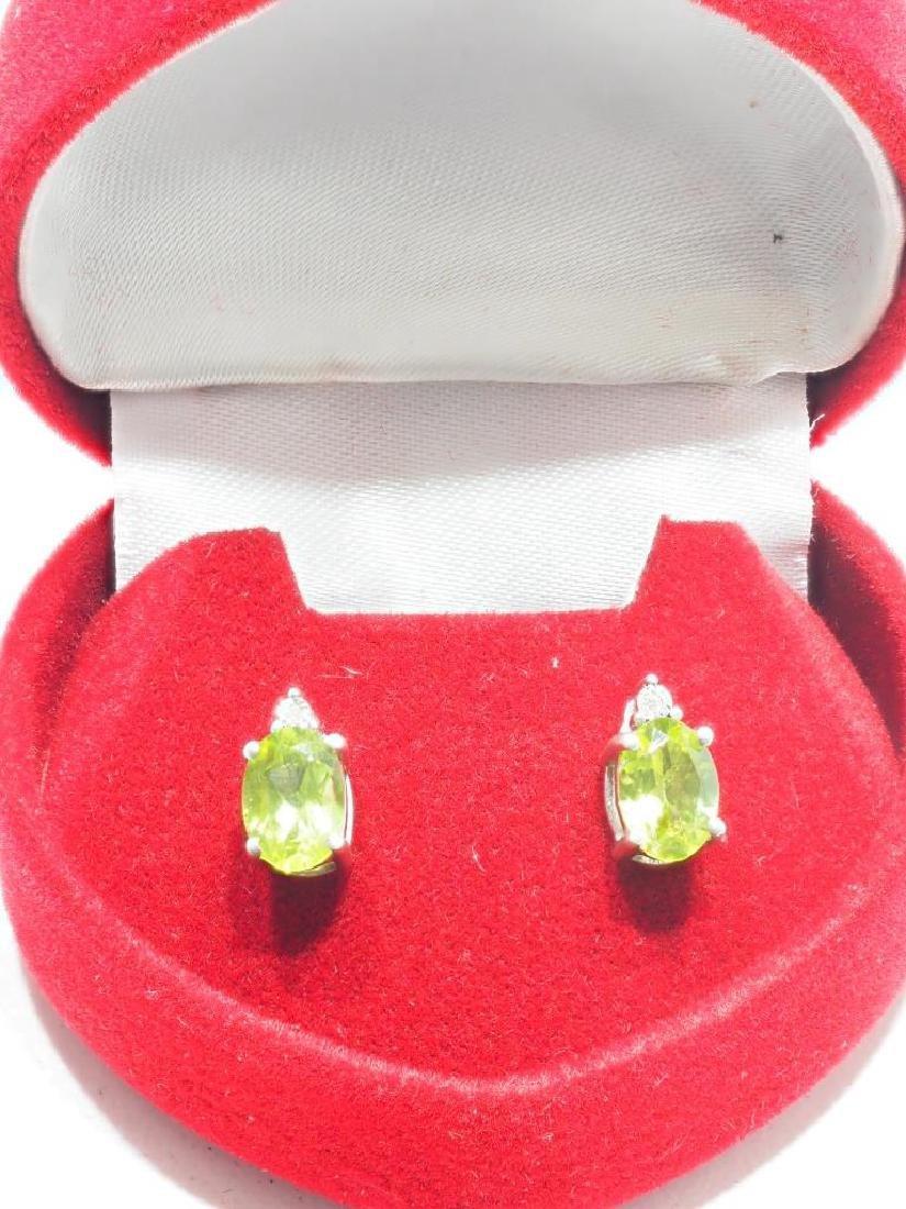 Sterling Silver Peridot Diamond Earrings - 2