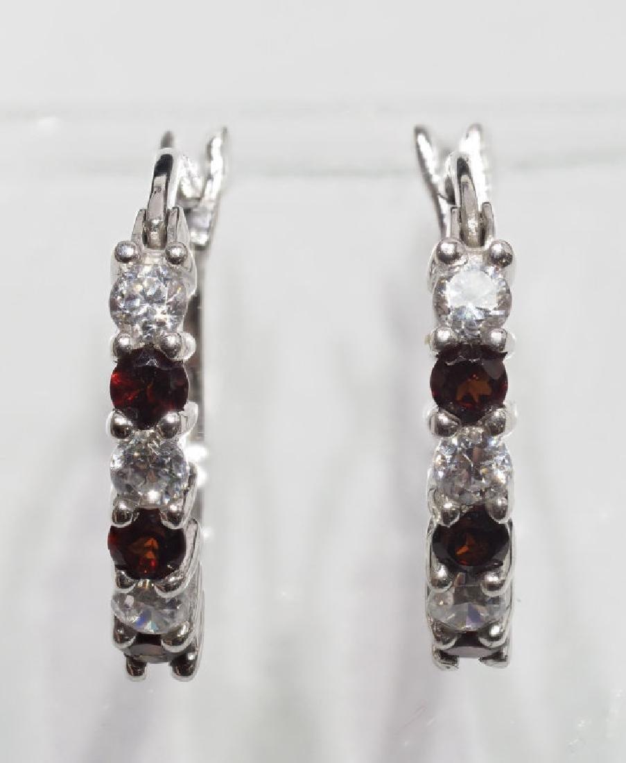 Sterling Silver Natural Garnet Earrings