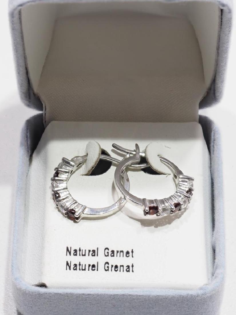 Sterling Silver Natural Garnet Earrings - 3
