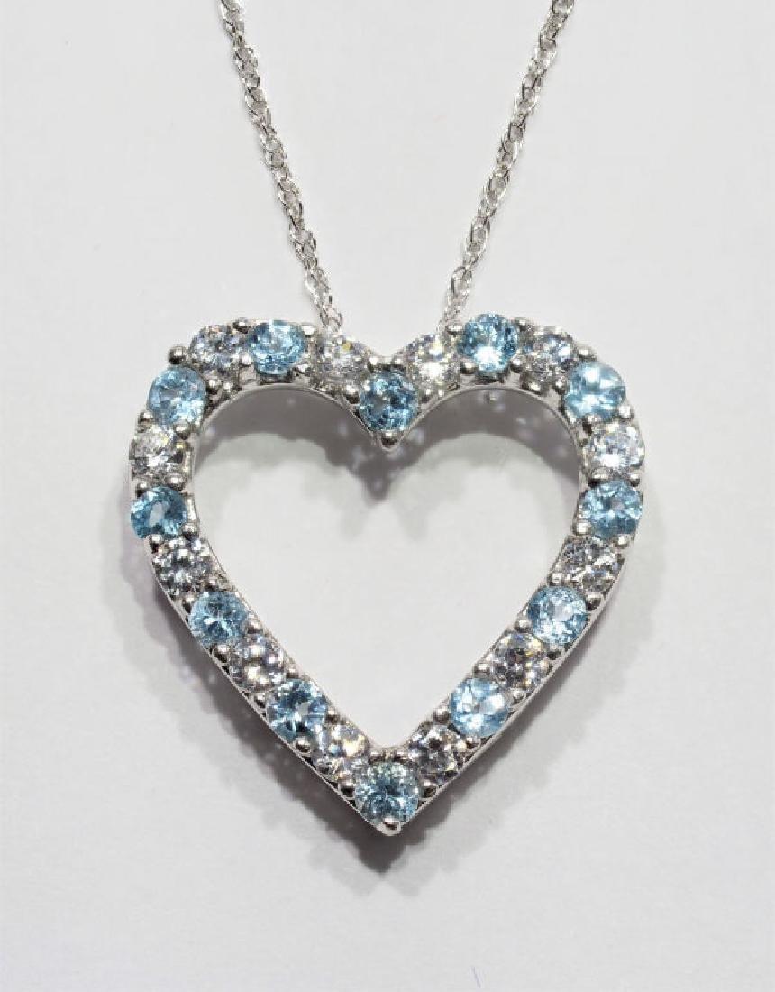 Sterling Silver Blue Topaz Heart Pendant