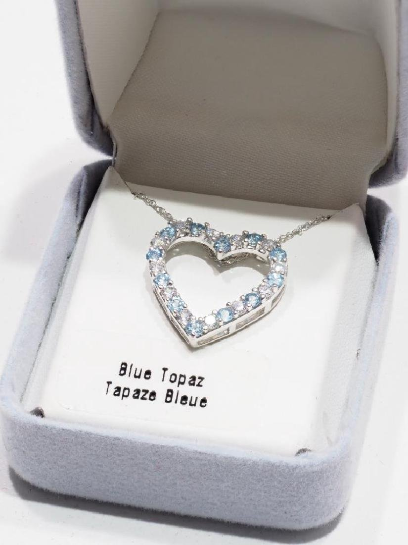 Sterling Silver Blue Topaz Heart Pendant - 2
