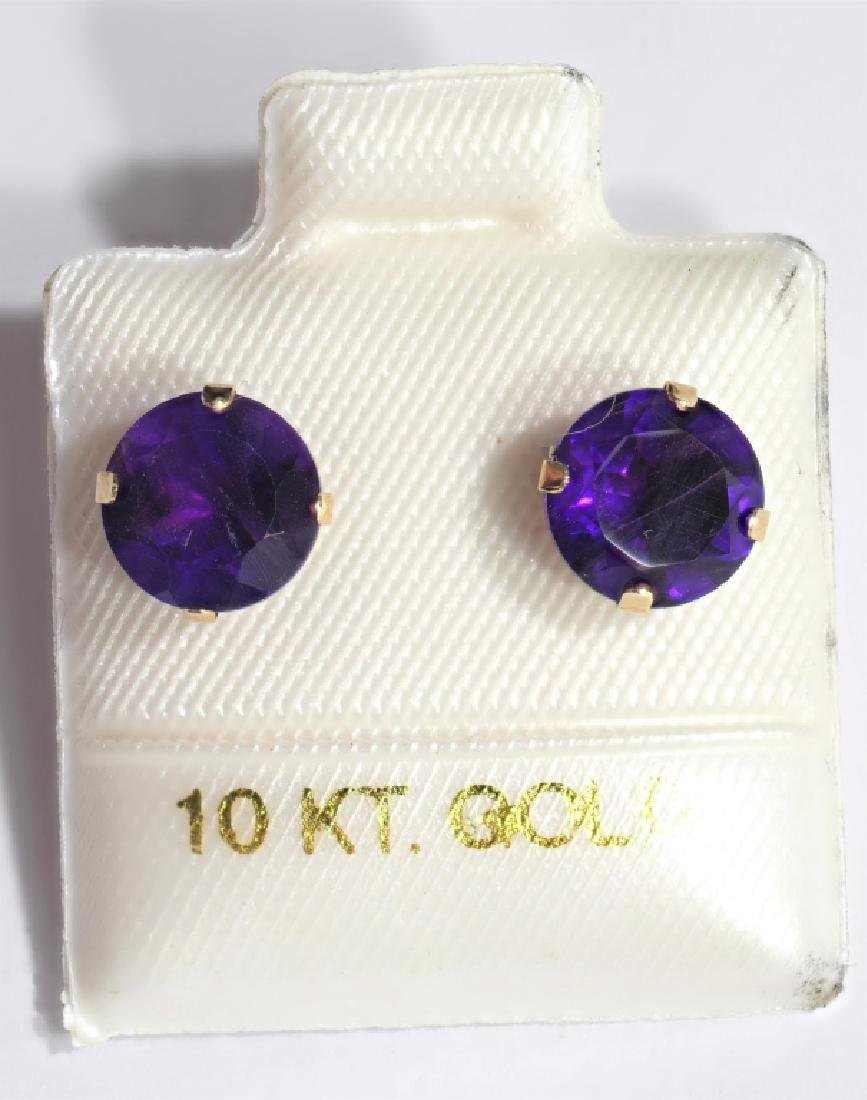 10kt Gold Genuine Amethyst Earrings - 2