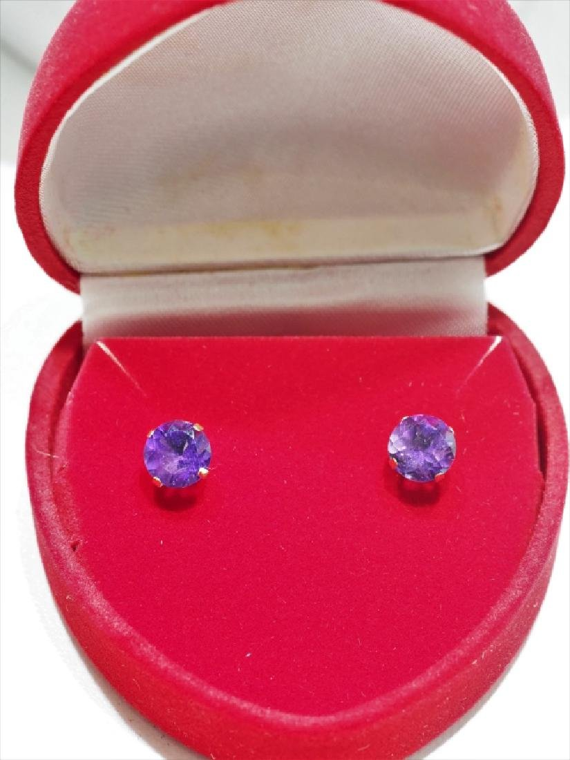 10kt Gold Genuine Amethyst Earrings - 3