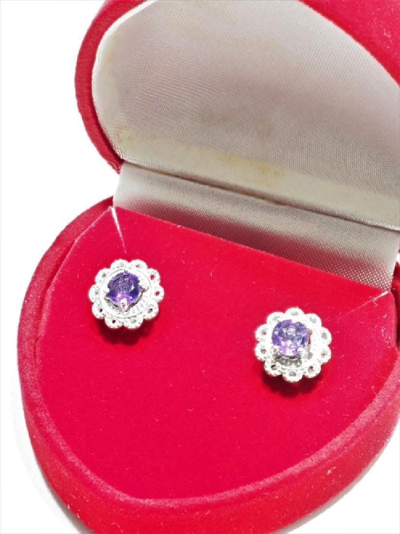 Sterling Silver Amethyst  Earrings - 2