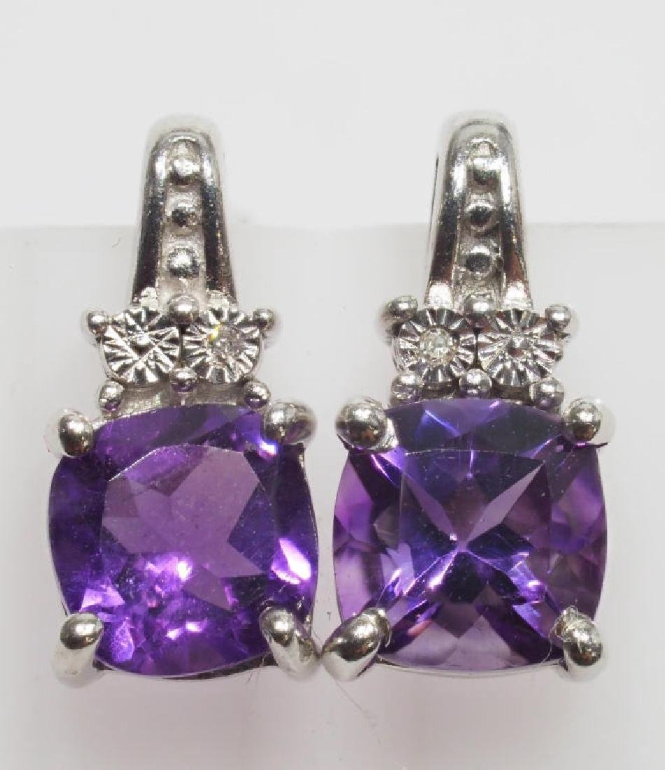 Sterling Silver Amethyst  Diamond Earrings