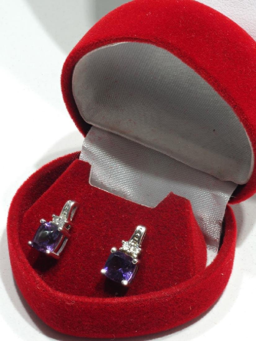Sterling Silver Amethyst  Diamond Earrings - 2